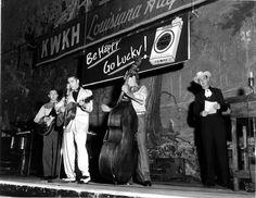 Scotty, Elvis, Bill and Frank Page at the Louisiana Hayride Oct. 16, 1954 Photo © courtesy of Louisiana Hayride Archives - J. Kent