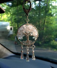 Car Charm Clear Quartz and Cut Crystal Tree of by Just4FunDesign, $30.00