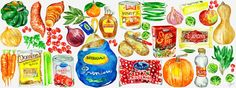 Thanksgiving shopping list illustration by Jessie Kanelos Weiner. They Draw and Cook. Butterball Turkey. Ocean Spray Cranberries. Stove top stuffing. food illustrations.
