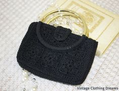 Vintage 60s 1960s Purse Bag Corde Corded by VintageClothingDream