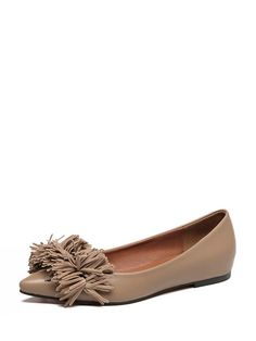 13aa0da51b3ae4 Solid Color Pointed Toe Tassel Flats For Women