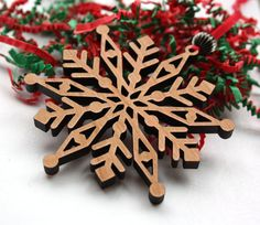 Wood Snowflake Christmas Ornament - Laser cut from cherry