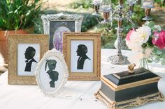 I am in-love with the antiques, vintage mix of silhouette artist Cindi Rose's table at a lovely outdoor elegant estate wedding!  Such a great Victorian, antique, yet modern Valentine's wedding theme.