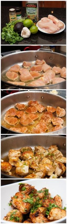 Ingredients:   Boneless Chicken, 3 breasts  Limes, 3 or 4  Garlic, 4 to 6 cloves  Olive Oil  Cumin  Cayenne or Chili Powder  Cilantro, 1/...