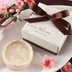 """""""Cherry Blossom"""" Scented Soap Wedding Favor   #exclusivelyweddings   #brownwedding"""