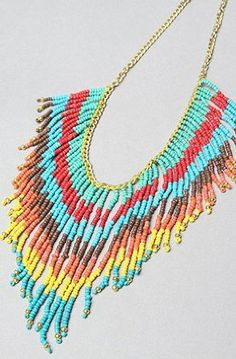 Accessories Boutique The Bright Bead Fringe Necklace,Jewelry for Women