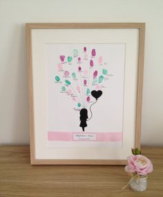 """Affiche, poster empreinte """"Petite fille et son lâchée de ballon""""personnalisable pour baptême, mariage, naissance Baby Girl Birthday, 2nd Birthday, Naming Ceremony, Girl Posters, Thing 1, First Communion, Vintage Colors, Projects For Kids, Diy And Crafts"""