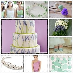 I love the lavender design on this wedding cake. Mint and lavender inspiration
