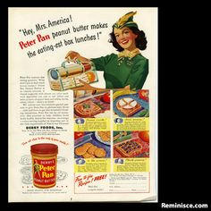 Derby's Peter Pan Peanut Butter ad, 1944 (c/o Reminisce magazine)