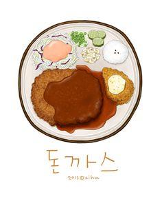 Paint by Korean artist: Xihanation Food Art, A Food, Food And Drink, Food Design, Real Food Recipes, Dessert Recipes, Food Doodles, Cute Food Drawings, Food Sketch