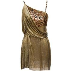Preowned 1994 Gianni Versace Haute Couture Stunning Evening Metallic... found on Polyvore featuring dresses, multiple, brown cocktail dress, cocktail mini dress, leopard print cocktail dress, metallic dress and holiday dresses