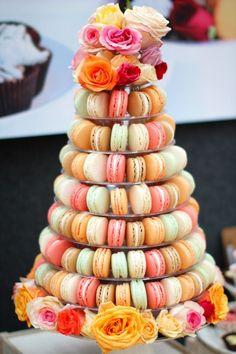 macaron stand from Etsy Macaron Stand, Macaron Tower, Macaron Cake, Beautiful Wedding Cakes, Gorgeous Cakes, Pretty Cakes, Cute Cakes, Wedding Cake Designs, Wedding Cupcakes