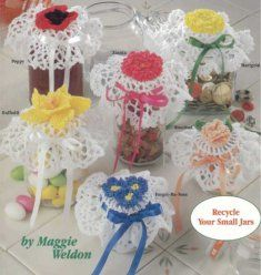Crochet Patterns Jar Lids : Flower Jar Lid Covers Crochet Pattern Crochet Pattern Flower Jar Lid ...