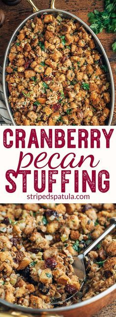 Cranberry Pecan Stuffing Recipe - - This Cranberry Pecan Stuffing blends whole wheat and country croutons with sweet-tart cranberries, toasted pecans, and herbs. Use vegetable stock for a vegetarian Thanksgiving side dish. Thanksgiving Vegetables, Stuffing Recipes For Thanksgiving, Vegetarian Thanksgiving, Thanksgiving Side Dishes, Healthy Thanksgiving Recipes, Thanksgiving Turkey, Fall Recipes, Holiday Recipes, Holiday Foods