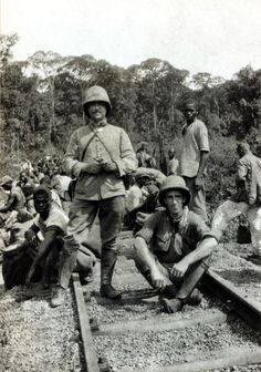 World War I Africa.  circa 1914.  AngloFrench conquest of the Cameroons shows a party of French troops resting.