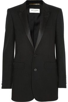 Saint Laurent Satin-trimmed wool-crepe tuxedo jacket. Wear this timeless design with leather pants and pointed pumps. | NET-A-PORTER