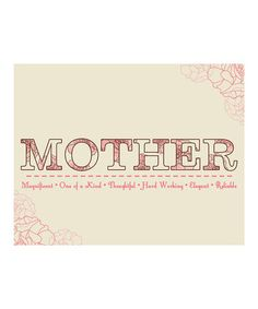 Motherly Love #Print from Secretly Designed on #zulily #wordart #design #motherhood #sweet #mom