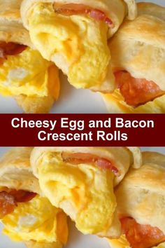 Cheesy Egg and Bacon Crescent Rolls. Compete breakfast recipe rolled into one an. - Cheesy Egg and Bacon Crescent Rolls. Compete breakfast recipe rolled into one and serves Make - Breakfast Appetizers, Breakfast Desayunos, Sausage Breakfast, Breakfast Dishes, Breakfast Casserole, Easy Breakfast Ideas, Sausage Casserole, Breakfast Recipes With Eggs, Breakfast Enchiladas