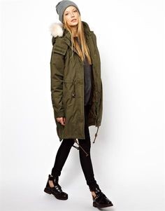 Enlarge Monki Parka With Faux Fur Trim Hood Winter Coat Outfits, Cold Weather Outfits, Fall Outfits, Parka Outfit, Green Winter Coat, Winter Coats, Winter Parka, Best Parka, Coats For Women