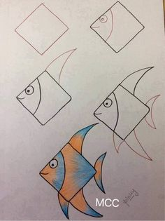 drawing tutorials for beginners - Drawing TutorialAmazing easy drawing ideas archive! drawing tutorials for beginners - Drawing Tutorial Fish Drawings, Doodle Drawings, Cute Drawings, Animal Drawings, Doodle Art, Beautiful Drawings, Drawing Lessons For Kids, Easy Drawings For Kids, Art Lessons