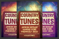 Country Tunes Flyer by KiraYamato on Concert Flyer, Country Concerts, Model Photos, Flyer Template, Wicked, Neon Signs, Templates, Flyers, Modern