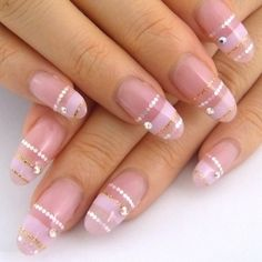 nail design Pink Stripped