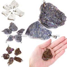 Random Freeform Druzy Quartz Agate Geode Metallic Iridescent Nugget Pendant Chic in Jewelry & Watches, Fashion Jewelry, Necklaces & Pendants | eBay