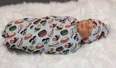 Buy Now Sushi Swaddle Blanket with Hat Headband / Swaddle Set Boy / Swaddle Set Girl / Sushi Baby Blanket by MonroesHandmade. Baby Crib Sheets, Baby Swaddle Blankets, Nursing Pillow, Baby Prints, Beautiful Babies, Cute Babies, Sushi, Infant Photography, Hat