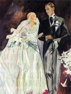 Beautiful Bride and Groom 1920s/1930s Bride Flapper VINTAGE Illustration. Art Deco Wedding  DIGITAL Download. Perfect For Invites