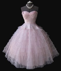 1950's pink tulle prom dress.