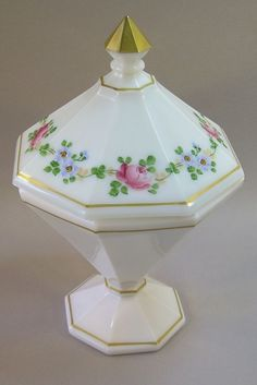 Vintage Westmoreland Hand Painted Milk Glass Compote Covered Lidded Candy Dish #Westmoreland