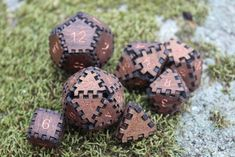 Copper & Walnut Dice SET - Dungeons and Dragons DnD, Magic the Gathering MTG, Handmade Wooden Polyhedral Game Dice Tabletop Games, Tabletop Rpg, Wooden Dice, Dungeons And Dragons Dice, Dice Box, Dragon Dies, Box Joints, Magic The Gathering, Handmade Wooden