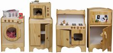 All wooden Kitchen. 5 pieces including washer, microwave, cabinet, stove, icebox, painting it myself.  website:  http://www.1888toys.com/All-Wood-Kids-Kitchen-Set-Made-in-USA-Hand-Crafted-Solid-Wood-Pretend-Play-Kitchen-Set-5-pieces-set-or-make-your-own-UPS-Free-Shipping.aspx