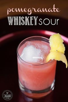 If you want a lip smacking cocktail that's perfect for the winter holidays, mix up an easy to make Pomegranate Whiskey Sour. Plus: another method to seed a pomegranate. Party Drinks, Cocktail Drinks, Cocktail Recipes, Sour Cocktail, Cocktail Ideas, Whiskey Sour, Apple Whiskey, Whiskey Drinks, Bourbon Mixed Drinks