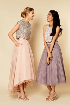 38 Chic And Trendy Bridesmaids' Separates Ideas: a midi high low blush skirt with a sequin top and a midi purple pleated skirt with a silver top