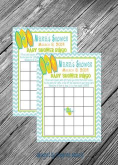 SURF'S UP Baby Shower Printable Bingo