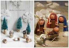 Algo tan simple como el corcho puede valer como corona de Navidad, belén, pequeños adornos...