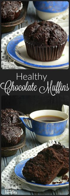 These Healthy Chocolate Muffins help you eat well and have your chocolate too!These Healthy Chocolate Muffins help you eat well and have your chocolate too! They are richly chocolate, so my kids love them. And healthy enough that I can actu Healthy Baking, Healthy Desserts, Healthy Recipes, Healthy Food For Kids, Healthy Meals, Healthy Muffins For Kids, Healthy Fridge, Eating Healthy, Diet Recipes