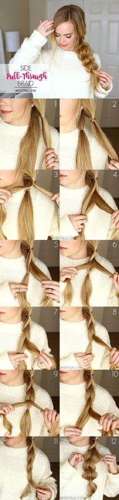 Hairstyle // Side pull-through braid hair tutorial. Cool hair every day hair hair ideas Pretty Hairstyles, Easy Hairstyles, Wedding Hairstyles, Amazing Hairstyles, Christmas Hairstyles, Casual Hairstyles, Hairstyles 2018, Bouffant Hairstyles, Workout Hairstyles