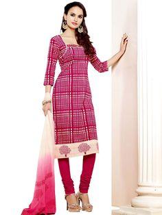 Imperious magenta color Chanderi silk Kameez. Item Code: SLHD66009