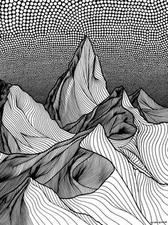 Christa rijneveld mountain drawing, art club, art projects, doodles, line a Gravure Illustration, Illustration Art, Zentangle Drawings, Art Drawings, Drawings On Lined Paper, Stylo Art, Mountain Drawing, Line Artwork, Composition Art