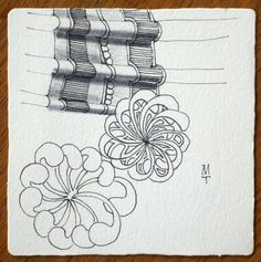Zentangle by Maria Thomas, Zentangle Co-Founder using new idea for border wrapping tangles.  See blog post for more ideas.