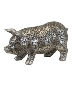 Take a look at this Large Antique Silver Pig by Urban Trends Collection on #zulily today!