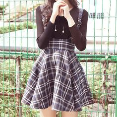 Plaid Strap Woolen Suspender Skirt/Top SP178808