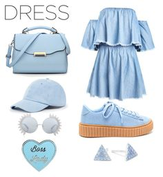 """Denim summer"" by putxzzahra ❤ liked on Polyvore featuring Sole Society, Linda Farrow and Belk Silverworks"
