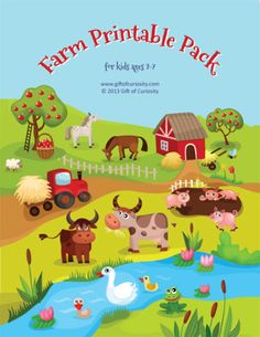 Farm Theme Printable Pack with 63 activities for kids ages 2-7 focused on skills such as shapes and colors, same vs. different, sorting / sequencing / categorizing, puzzles, mazes, fine motor, math, and literacy #freeprintables #farm || Gift of Curiosity