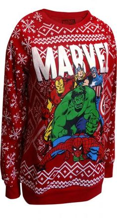 Marvel Comics Merry Christmas Avengers Ugly Holiday Sweatshirt for Women … - Avengers Endgame Marvel Fashion, Nerd Fashion, Fandom Fashion, Christmas Jumpers, Christmas Sweaters, Merry Christmas, Christmas Comics, Disney Outfits, Cute Outfits