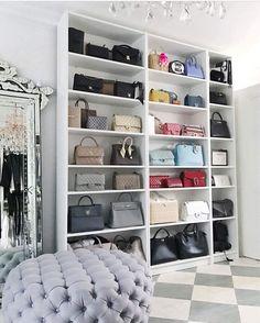25 Ideas for bedroom closet organization purses handbag storage Bag Closet, Wardrobe Closet, Closet Bedroom, Bedroom Decor, Master Bedroom, Closet Space, Closet Storage, Walk In Closet Design, Closet Designs