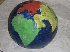 paper mache globe/continents