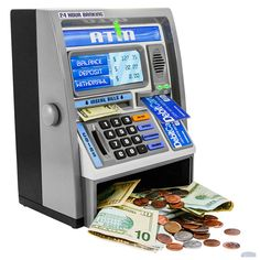 Ben Franklin Toys Kids Talking ATM Machine Savings Piggy Bank with Digital Screen, Electronic Calculator That Counts Real Money, and Safe Box for Kids, Silver Mini Things, Cool Things To Buy, Money Safe Box, Money Tin, Atm Bank, Savings Bank, Kids Boxing, Toys For Girls, Kids Toys